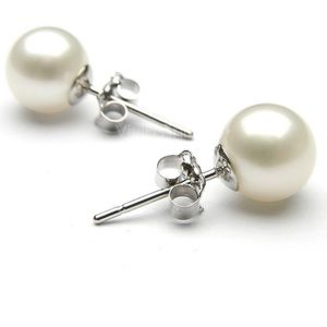 🤍8mm Pair Freshwater Ivory Pearl Earring Studs🤍